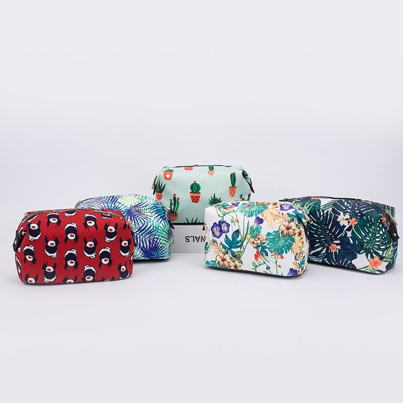 TOP-BEAUTY Arts & Crafts Cute girl fashionable small print fabric travel cosmetic evening bags Makeup Evening Bags image1