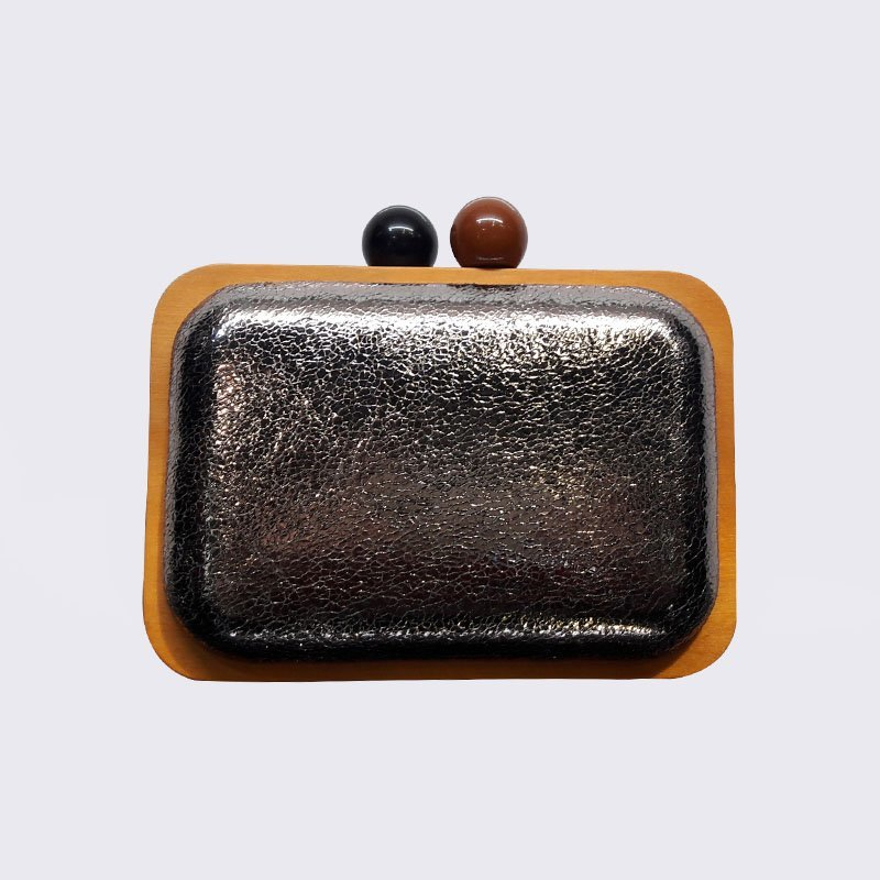 TOP-BEAUTY Arts & Crafts Wholesale Creditable Ladies Clutches Wooden Frame Bag with kiss lock Wooden Frame Evening Bags image3
