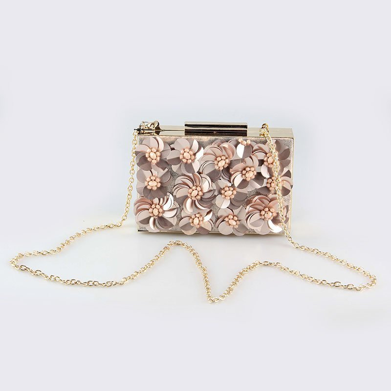Spring&Summer 2018 Flower Beaded Decoration Frame Clutch For Ladies