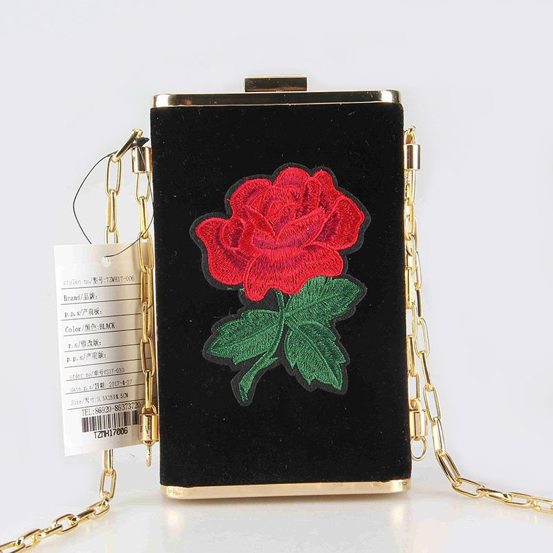 TOP-BEAUTY Arts & Crafts New Arrival 2018 Shiny Velvet Rose Embroidery Patch Decoration Clutch Floral Evening Bags image1