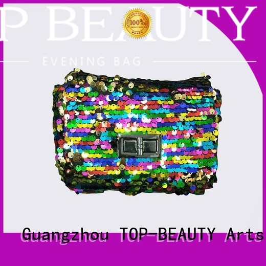 TOP-BEAUTY Arts & Crafts Brand closure bead handmade custom shiny sequins bags wholesale