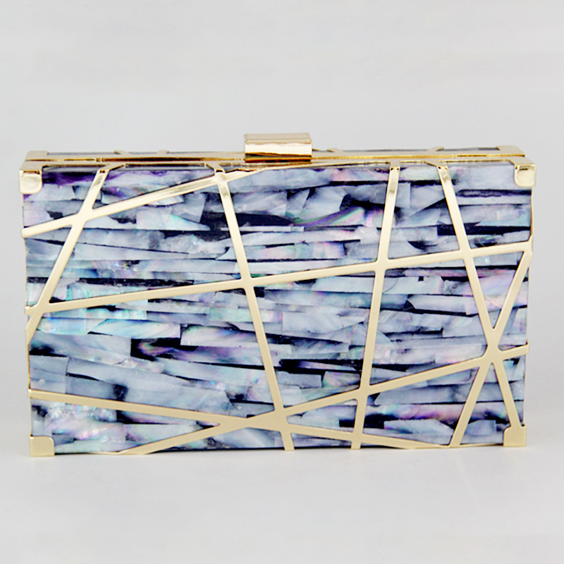 Wholesale 2018 New Arrival Metal Frame Sea-shell Clutch Bag Eveing Bag