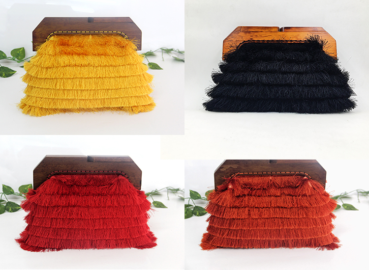 Unique Design Evening Clutch bag with feather wooden frame